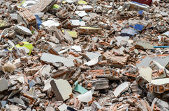 Concrete and brick rubble debris on construction site Royalty Free Stock Photography