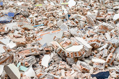 Concrete and brick rubble debris on construction site Royalty Free Stock Photo