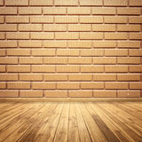 Concrete brick walls and wood floor for text and background stock image