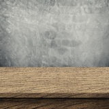 Concrete brick walls and wood floor for text and background Stock Photo
