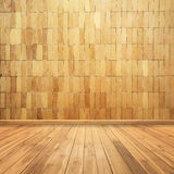 Concrete brick walls and wood floor for text and background Royalty Free Stock Photo