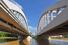 Concrete bridge. Across the river Stock Photo