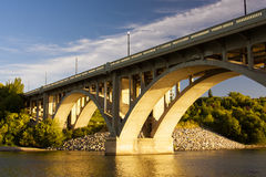 Concrete Bridge. Over the South Saskatchewan River in the city of Saskatoon in Canada Royalty Free Stock Photography