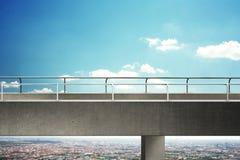 Concrete bridge above cityscape. High concrete bridge above cityscape stock images