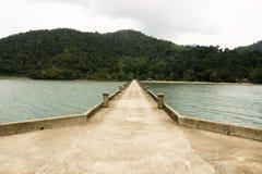 Concrete bridge fishing boat pier Stock Photo