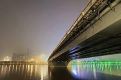 Concrete bridge at night-time Royalty Free Stock Image