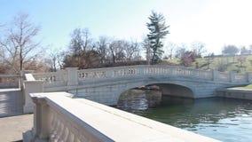 Concrete bridge over lake stock footage