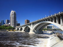 Concrete bridge over Mississippi. Central Ave bridge in downtown Minneapolis Stock Photos