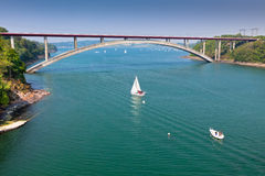 Concrete Bridge over Sea Bay in France Stock Photography