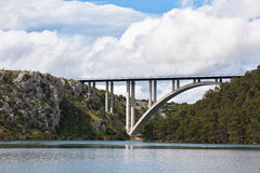 Concrete Bridge over Sea Bay Stock Image