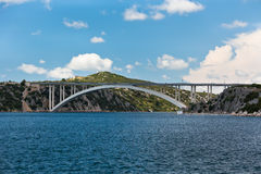 Concrete Bridge over Sea Bay. Horizontal shot Royalty Free Stock Photos