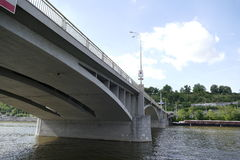 Concrete bridge in prague city center. Seen from the river vltava Royalty Free Stock Photo