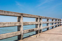 Concrete bridge railing Royalty Free Stock Photo