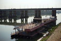 Concrete bridge on the river Stock Photography