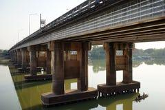 Concrete bridge on the river Royalty Free Stock Photos