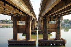 Concrete bridge on the river Stock Photos