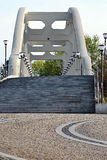 Concrete bridge with stairs and lamps Royalty Free Stock Photos