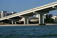 Concrete bridge support. From the water stock image
