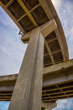 Concrete bridge support columns Stock Photo