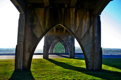 Concrete bridge supports Stock Image