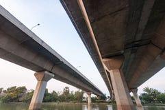 Concrete bridge taken from a futuristic angle Royalty Free Stock Photos