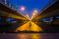 Concrete bridge , Tinsulanonda Bridges Thailand. Long concrete bridge linking Koh yo island and mainland, Tinsulanonda Bridges Thailand Stock Photos