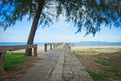 Concrete bridge to the sea Royalty Free Stock Photography
