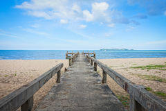 Concrete bridge to the sea Stock Photos
