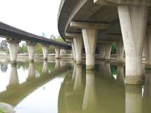 Concrete Bridges on River Stock Photo