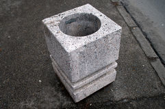 Concrete bucket. On Varadin Bridge, Novi Sad, Serbia stock photo