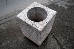 Concrete bucket. On Varadin Bridge, Novi Sad, Serbia Royalty Free Stock Image