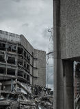Concrete building being demolished Royalty Free Stock Images