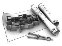 Concrete building blueprints Stock Photo