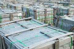 Concrete building bricks on pallets Royalty Free Stock Images