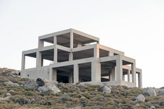 A concrete building under construction in the nature.  Royalty Free Stock Images