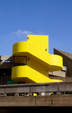 Concrete building yellow staircase london Stock Image