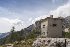 Concrete bunker in Alps Royalty Free Stock Images
