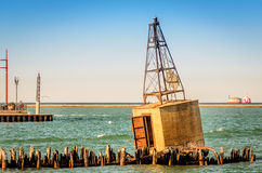 Concrete Buoy. Old concrete buoy on breakwater in Chicago Royalty Free Stock Image
