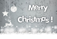 Concrete Caribou Bauble Snowfall Merry Christmas. Snow with text Merry Christmas on the concrete background Royalty Free Stock Images