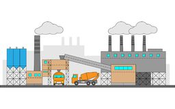 Concrete, cement factory. Industrial illustration with two machines. Editable. Royalty Free Stock Image