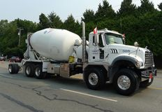 Concrete / Cement Mixer Truck. Cement truck on the highway street royalty free stock photos