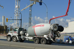 Concrete / Cement Mixer Truck. Cement truck on the highway street stock image