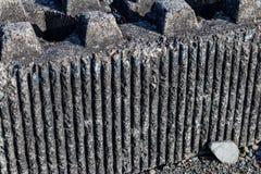 Concrete cement roadside barrier block stock photography