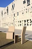 Concrete chairs. In front of a modern construction school Stock Photography