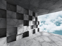 Concrete chaotic cubes wall on sky background. Abstract modern a. Rchitecture. 3d render illustration Royalty Free Stock Photo