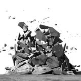 Concrete chaotic fragments of explosion destruction. Abstract ba. Ckground. 3d render illustration Stock Photo