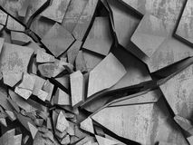 Concrete chaotic fragments of explosion destruction wall. Abstra. Ct background. 3d render illustration Stock Photography