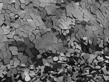 Concrete chaotic fragments of explosion destruction wall. Abstract background. 3d render illustration stock image
