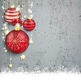 Concrete Christmas Cover Red Baubles Golden Stars Snow. Red baubles with golden stars on the concrete background Royalty Free Stock Photos