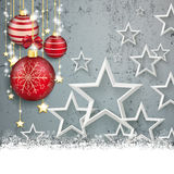 Concrete Christmas Cover Red Baubles White Stars Snow Stock Images